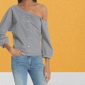 FRAME Gingham Tie Back Off the Shoulder Top Small